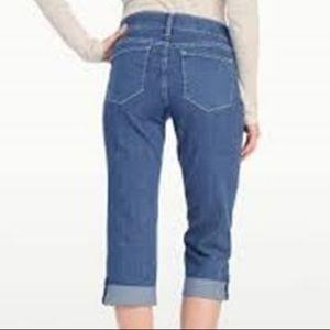 NYDJ Medium Wash Lyris Crop Rhinestone Jeans Sz 10